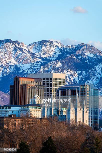 salt lake city skyline located downtown - salt lake city utah stock photos and pictures