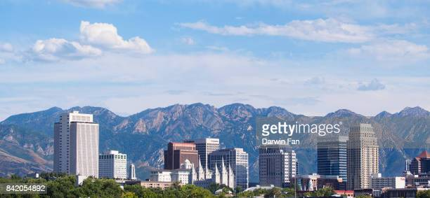 salt lake city skyline panorama - salt lake city utah stock photos and pictures