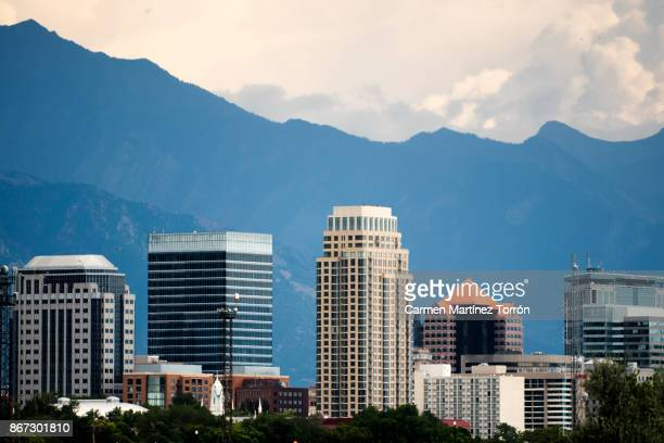 salt lake city skyline - salt lake city utah stock photos and pictures