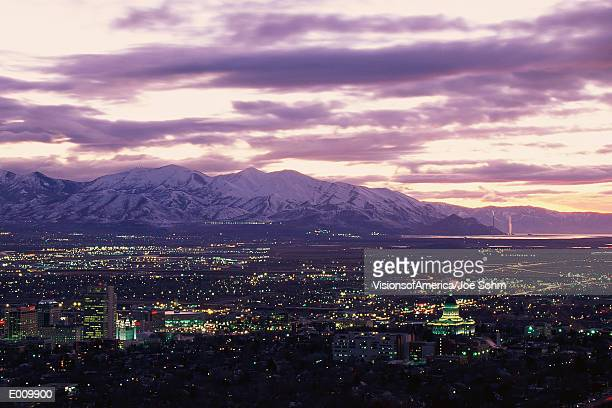 salt lake city, utah at twilight - salt lake city utah stock photos and pictures
