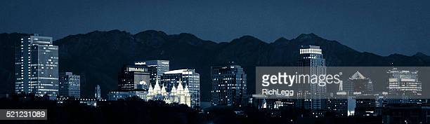 salt lake city utah skyline at night - salt lake city utah stock photos and pictures