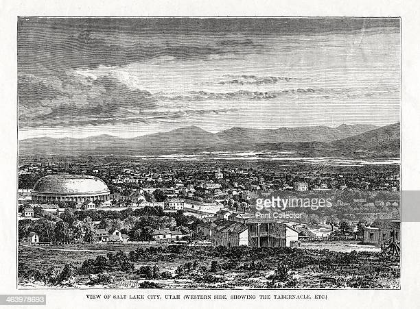 Salt Lake City, Utah, USA, 1877. View of the western side of the city showing the Mormon Tabernacle.