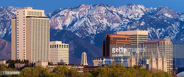 salt lake city utah usa web pop-under skyline panorama - salt lake city utah stock photos and pictures