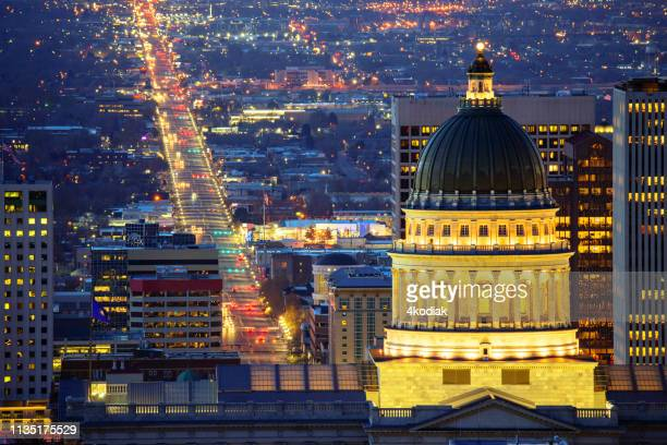 salt lake city with parliamentary building - utah stock pictures, royalty-free photos & images