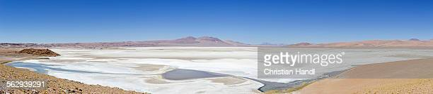 salt lake on the road to argentina, 27ch, san pedro de atacama, antofagasta region, chile - road salt stock pictures, royalty-free photos & images