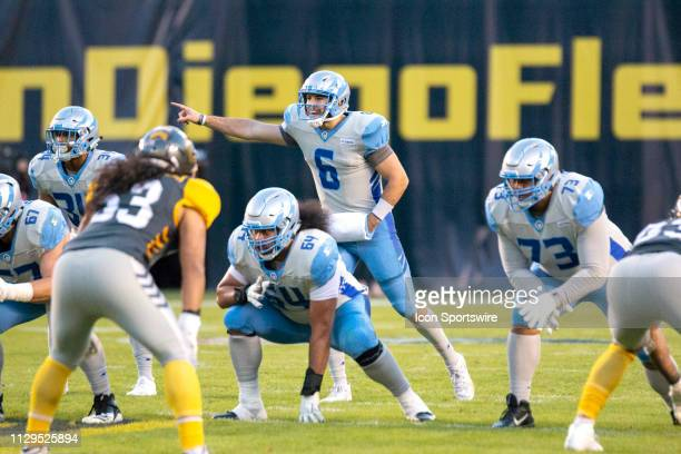 Salt Lake Stallions quarterback Josh Woodrum during the game between the Salt Lake Stallions and the San Diego Fleet on March 09 2019 at SDCCU...