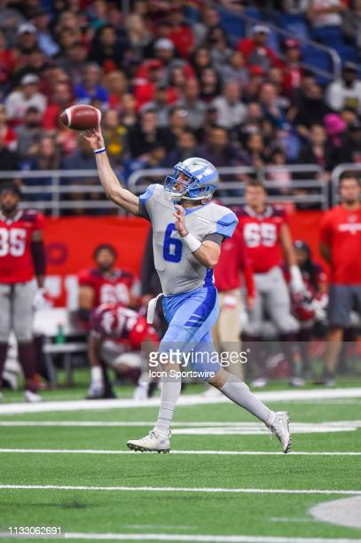Salt Lake Stallions quarterback Josh Woodrum throws a pass during the AAF game between the Salt Lake Stallions and the San Antonio Commanders on...
