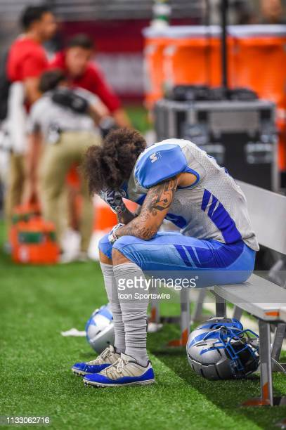 Salt Lake Stallions wide receiver Brian Tyms sits alone following the AAF game between the Salt Lake Stallions and the San Antonio Commanders on...
