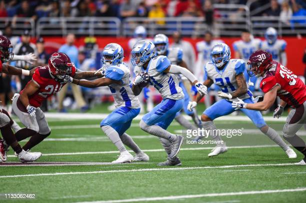 Salt Lake Stallions wide receiver Sam Mobley runs the ball during the AAF game between the Salt Lake Stallions and the San Antonio Commanders on...