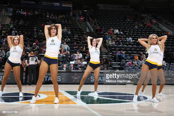 Salt Lake Stars Dancers perform during a time out at the game against of the Rio Grande Valley Vipers at vivintSmartHome Arena on November 27 2017 in...