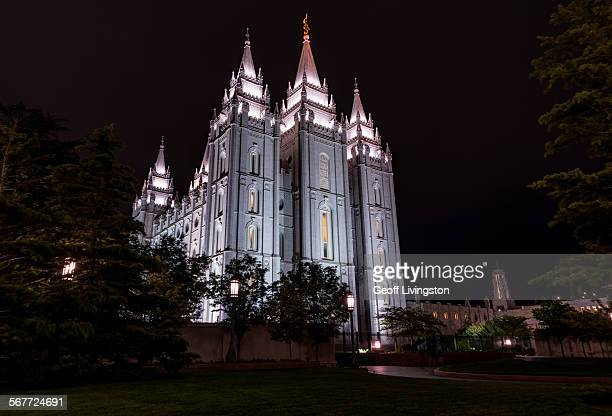 salt lake temple - salt lake city utah stock photos and pictures