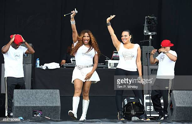 Salt 'n' Pepa perform on stage at Wireless Festival at Finsbury Park on July 6 2014 in London United Kingdom