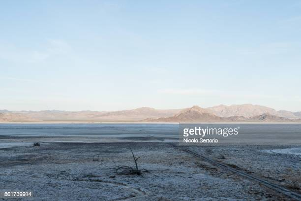 salt on desert bed with mountains in background - カリフォルニア州ベーカー ストックフォトと画像