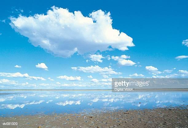 Salt Pan and clouds, Botswana