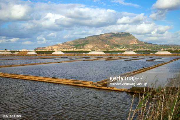 Salt pans of Nubia, a nature reserve with shallow ponds, intertidal marshes for harvesting salt, Paceco, Trapani, Sicily, Italy