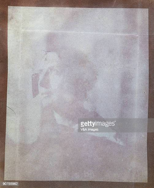 Salt paper print from a calotype negative by William Henry Fox Talbot This could well be the first portrait ever taken on paper The creases in the...