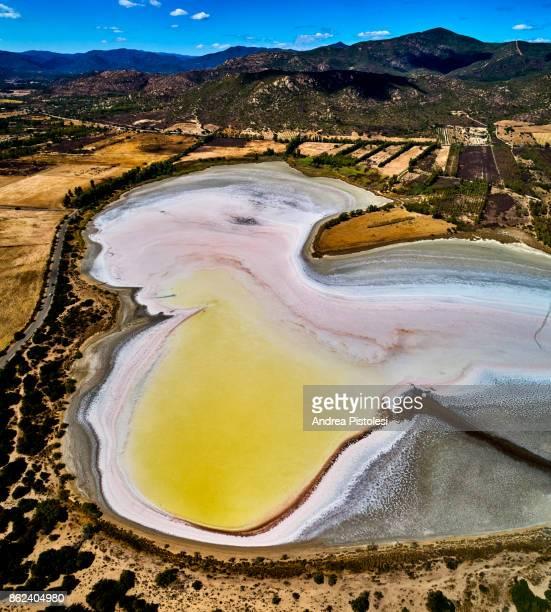 salt pond in sardinia, italy - ソルトポンド ストックフォトと画像