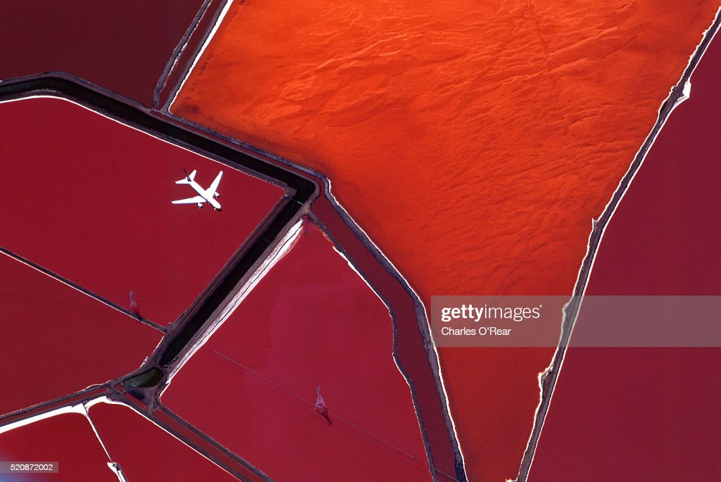Salt ponds, San Francisco Bay : Stock Photo