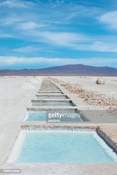 salt pools at salinas grandes in northern argentina - argentina stock pictures, royalty-free photos & images