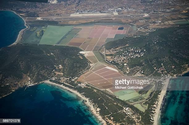 Salt pools next to beaches on Ibiza island on May 21 2016 in Ibiza Spain