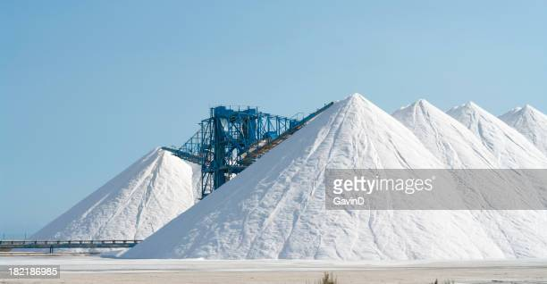 Salt production at salinas in Spain stock photo