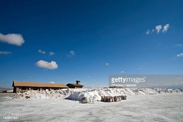 Salt production at the salt lake Salinas Grandes, across the Andes, Jama pass (Paso de Jama), Argentina, South America