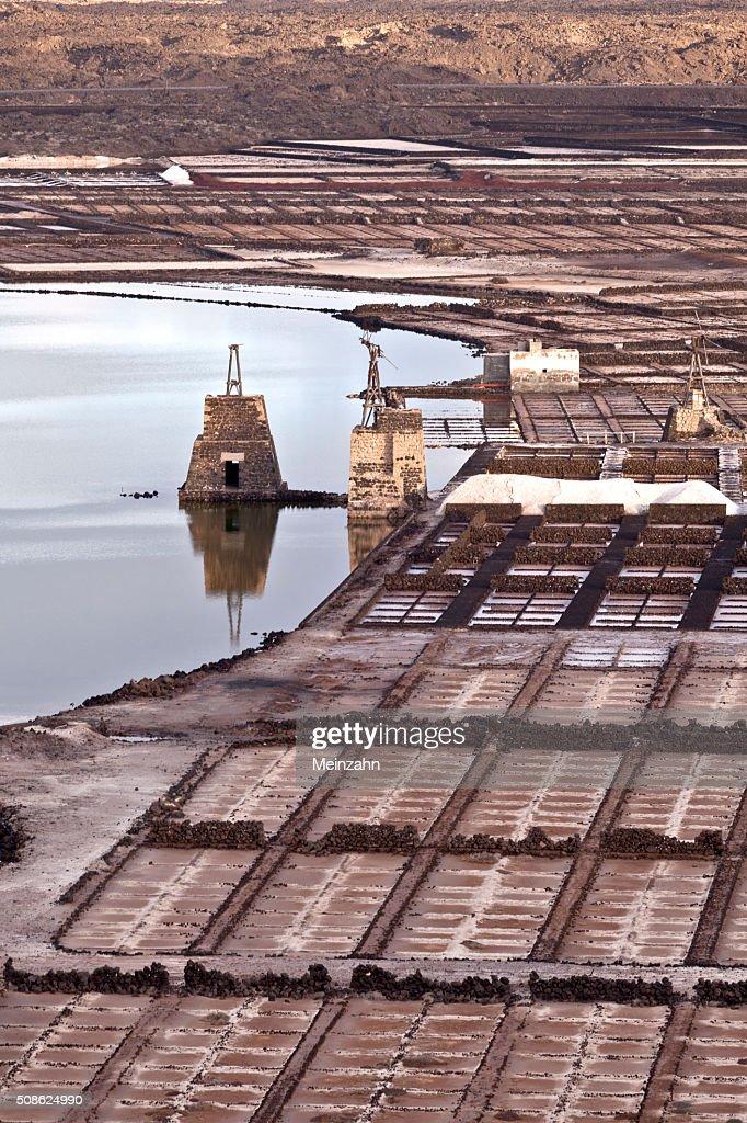 Salt refinery, Saline from Janubio, Lanzarote : Stock Photo