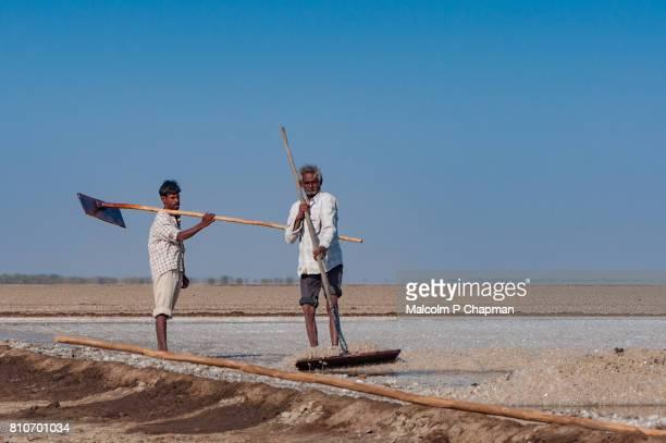 Salt workers on the Little Rann of Kutch, salt pans near Dhrangaghra. India is world's 3rd largest producer of salt, 80% from Gujarat.
