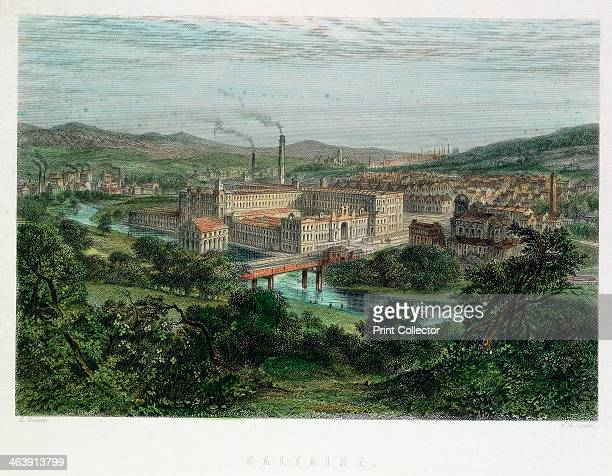 Saltaire, Yorkshire, 19th century. Saltaire was a model textile factory and town near Bradford,Yorkshire, founded by Titus Salt in 1851. Shops, a...