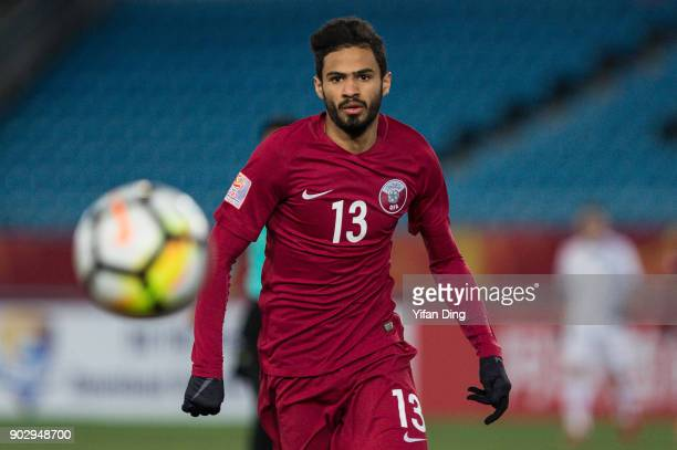 Saltan AlBrake of Qatar in action during the AFC U23 Championship Group A match between Qatar and Uzbekistan at Changzhou Olympic Sports Stadium on...