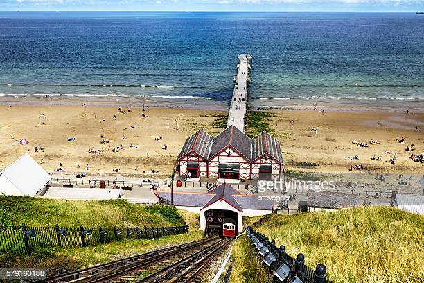 saltburn by the sea, seashore and pier - saltburn stock photos and pictures