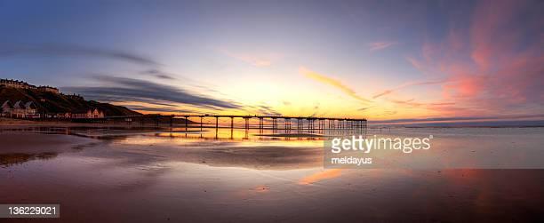 saltburn pier at sunset - saltburn stock photos and pictures