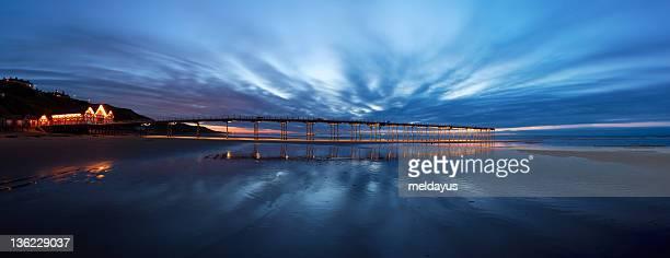 saltburn pier at twilight - saltburn stock photos and pictures