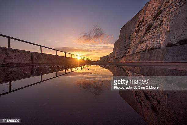 saltdean cliffs, reflection at sunset - saltdean stock pictures, royalty-free photos & images
