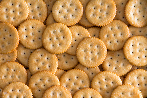 Salted Baked Round Crackers for Backgrounds 600070054