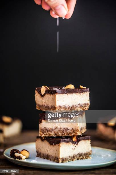 Salted Caramel and Hazelnut Slice Stack with Salty Fingers