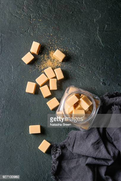 salted caramel fudge - fudge stock pictures, royalty-free photos & images