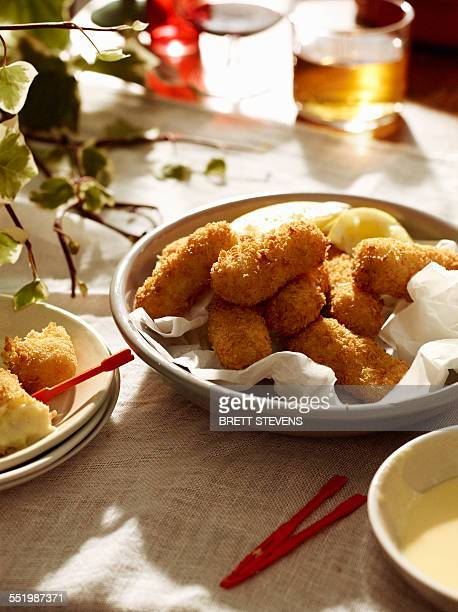 Salted cod croquettes with lemon and beer