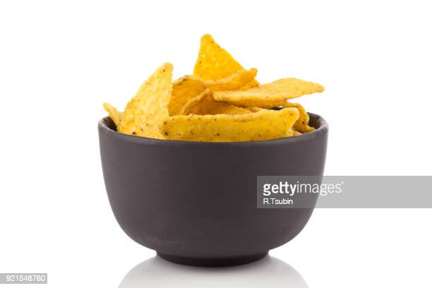 salted corn snack nachos chips - bowl stock pictures, royalty-free photos & images