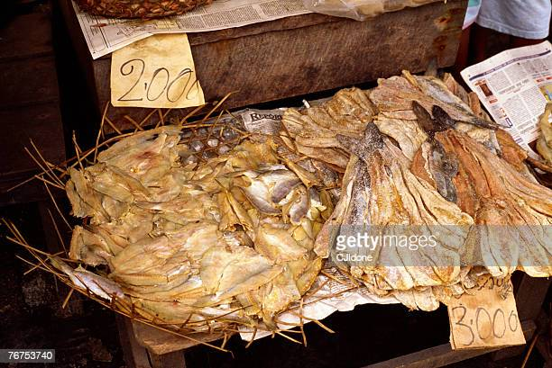 Salted piranha at market