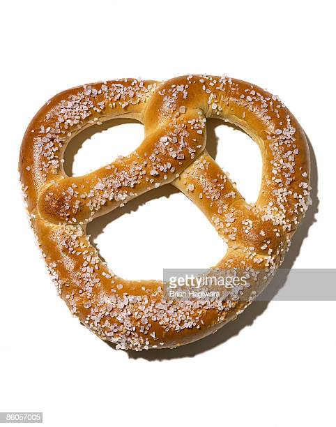 Salted pretzel on white