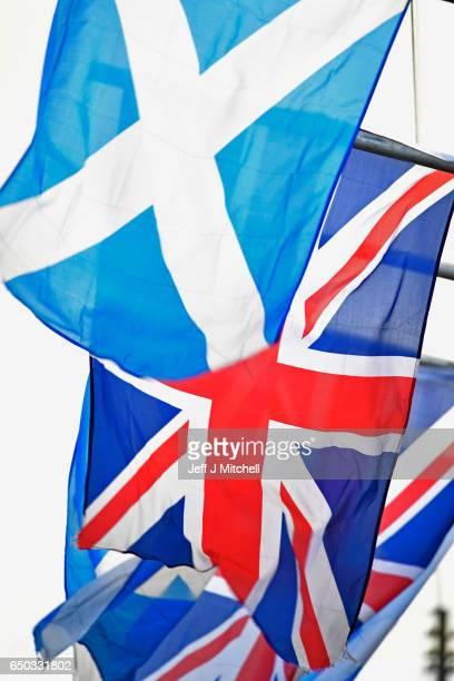 A saltire flag and Union Jack flutter in the wind on March 9 2017 in GlasgowScotland Nicola Sturgeon has said in an interview that the autumn of 2018...