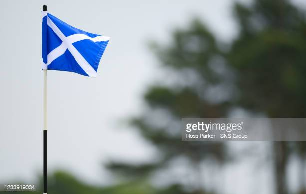 Saltire flag is pictured during day four of the abrdn Scottish Open at the Renaissance Club, on July 11 in North Berwick, Scotland.