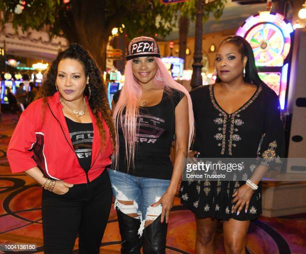 Factory and producer Seth Yudof All4One SaltNPepa Sisqo and Rob Base pose for a photo during the announcement for 'I LOVE THE '90s THE VEGAS SHOW' at...