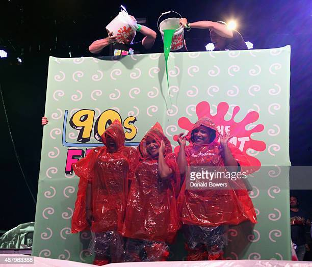 SaltNPepa gets slimed at the Nickelodeon sponsored 90sFEST Pop Culture and Music Festival on September 12 2015 in Brooklyn New York