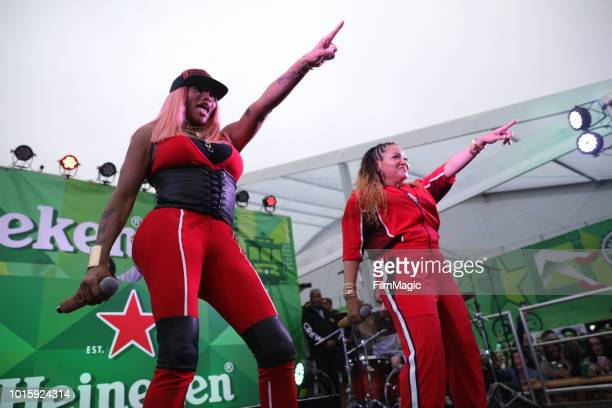 SaltNPepa perform at The House By Heineken during the 2018 Outside Lands Music And Arts Festival at Golden Gate Park on August 12 2018 in San...