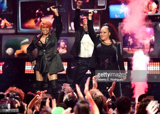 Salt-N-Pepa perform onstage during Dick Clark's New Year's Rockin' Eve with Ryan Seacrest 2020 Hollywood Party on November 23, 2019 in Los Angeles,...