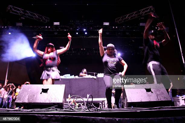 SaltNPepa performs at the Nickelodeon sponsored 90sFEST Pop Culture and Music Festival on September 12 2015 in Brooklyn New York