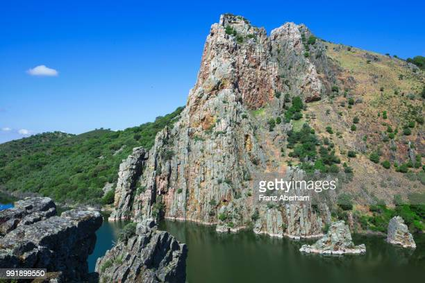 salto del gitano on rio tajo, the bird rock in monfragüe national park, extremadura, spain - estremadura stock-fotos und bilder
