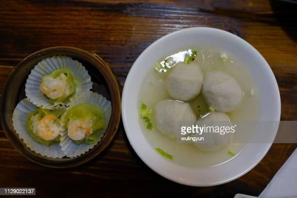 saltwater eel meatballs and shrimp dumplings